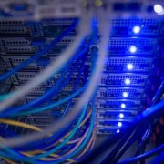 Interior of rack mounted servers